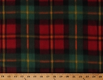 Fleece Plaid Red Green Orange Cozy Checkered Squares Plaids Fleece Fabric Print by the Yard (8142M-12C) (A511.42)