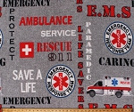Fleece EMT Emergency Medical Service Ambulance Technicians Hospital Rescue Services Gray Fleece Fabric Print by the Yard (1196-RESCUE)
