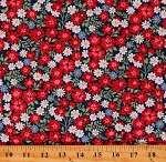 Cotton Spring Floral Dutch Dance Multicolor Flowers on Blue Cotton Fabric Print by the Yard (A-9362-B)