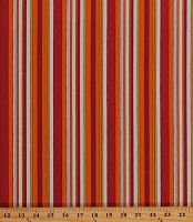 Cotton Orange Red Yellow Cream Stripes Striped Harvest Thanksgiving Autumn Fall Cotton Fabric Print by the Yard (D148.10)
