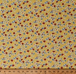 Cotton Flowers Blue Red White Floral on Yellow Sugar Sack 2 Feedsack Floral Dutch Cotton Fabric Print by the Yard (51451-3)