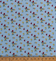 Cotton Tulips Red and Yellow Flowers Floral on Blue Sugar Sack 2 Feedsack Dutch Cotton Fabric Print by the Yard (51450-2)