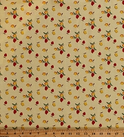 Cotton Tulips Red and Yellow Flowers Floral on Yellow Sugar Sack 2 Feedsack Dutch Cotton Fabric Print by the Yard (51450-3)