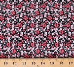 Cotton Pink Floral Small Tiny Flowers Blossoms Dutch Black Abbie's Garden Cotton Fabric Print by the Yard (C9573-BLACK)