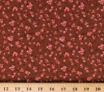 Cotton Floral Small Tiny Flowers Blossoms Dutch Brown Cotton Fabric Print by the Yard (N1205-BROWN)
