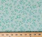 Cotton Floral Flowers Dutch Spring Nature Mint Green Cotton Fabric Print by the Yard (N1582-BLUE)