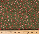 Cotton Floral Tiny Small Pink Flowers Blossoms Dutch Spring Green Cotton Fabric Print by the Yard (N1205-GREEN)