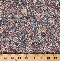 Cotton Floral Flowers Small Tiny Blossoms Spring Dutch Grey Gray Cotton Fabric Print by the Yard (N1679-DKGRAY)