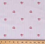 Cotton Small Pink Flowers Roses on Tiny Gold Stripes and Dots Dutch White Madeline Cotton Fabric Print by the Yard (Y2287-1white)