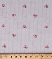 Cotton Small Pink Flowers Roses on Tiny Pink Stripes and Dots Dutch Light Gray Madeline Cotton Fabric Print by the Yard (Y2287-5lightgray)