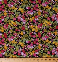 Cotton Leonora's Flowers Floral Pink Yellow Green on Black Cotton Fabric Print by the Yard (R&H-9001-5C-3)