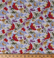 Cotton Evelyn's Tulips Flowers Red Multi-Color Floral Allover on Ivory  Cotton Fabric Print by the Yard (117646-RH-3)