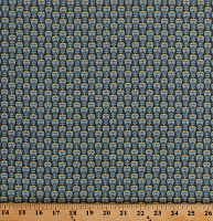 Cotton Tulips Flowers Dutch Floral Netherlands Holland Blue Yellow Cotton Fabric Print by the Yard (DK-2030-3C)