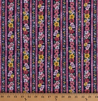 Cotton Floral Stripe Pink Purple Yellow Flowers Pink Stripes on Navy Blue Woodside Blossom in Navy Cotton Fabric Print by the Yard (SRK-17105-9NAVY)