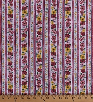 Cotton Floral Stripe Bright Pink Yellow Purple Flowers Stripes on White Woodside Blossom in Spring Cotton Fabric Print by the Yard (SRK-17105-192SPRING)