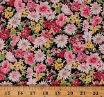 Cotton Flowers Daisies Bloom Springtime Garden Dutch Sevenberry Cotton Fabric Print by the Yard (SB-6173D2-2PINK)