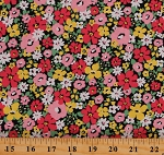 Cotton Flowers Spring Garden Springtime Bloom Sevenberry Cotton Fabric Print by the Yard (SB-6173D1-3PINK)