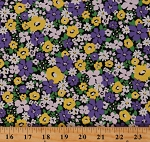 Cotton Flowers Spring Bloom Garden Purple Sevenberry Cotton Fabric Print by the Yard (SB-6173D1-5PURPLE)