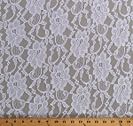 Lace Winter White Open Floral Lace with Double Scalloped Edge Slight Sheen 60