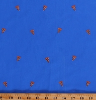 Vibrant Blue Cotton Twill with Embroidered Pizza Slices Food 60