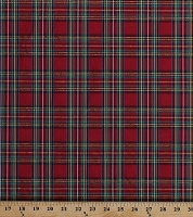 Double-Face 2-Sided Yarn-Dyed Taffeta Red Green Holiday Plaid with Metallic Gold 60