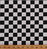 Cotton Twill Black & White Racing Check 60
