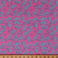Cotton Twill Turquoise Seahorses Beach Ocean Animals on Pink 60