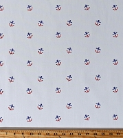 Twill Anchors Red & Blue Patriotic Anchors on White Nautical 58