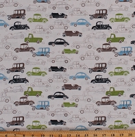 Linen/Rayon Blend Vintage Cars Automobiles Vehicles on Off-White 52