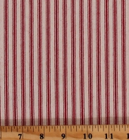 Ticking Stripe Burgundy on Tan Stripes Premium Yarn-Dyed Woven Cotton Home Decor Fabric by the Yard (HD0120-593)