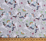 Flannel Unicorns Rainbows Stars Butterflies Fairytale Girls Kids Gray 44