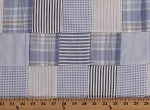 Cotton Plaid Patchwork Pale Blue Tan Navy White 44
