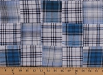 Cotton Plaid Patchwork Navy Blue Black White 44