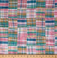 Cotton Stitched Patchwork Summer Plaid Multi-Color 43
