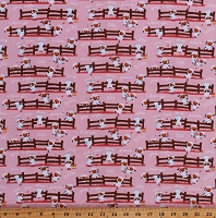 Flannel Counting Sheep Farm Animals Fence Sleep Dreams Harmony Farm Kids Children's Pink Cotton Flannel Fabric Print by the Yard (F7141-Pink)