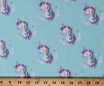 Flannel Unicorns Stars Magical Fairytale Animals on Blue Cotton Flannel Fabric Print by the Yard (8007M-11C)