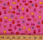 Flannel Fish Tiny Goldfish Flowers on Pink Kids Cotton Flannel Fabric Print by the Yard (8252L-2D)