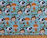 Flannel Puppy & Pals Puppies Monkeys Giraffes Jungle Animals on Sky Blue 2-Ply Kids Cotton Flannel Fabric Print by the Yard (F1589-11)