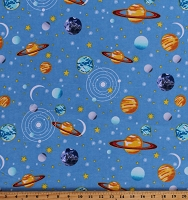 Flannel Planets Outer Space Solar System Stars Moons Kids Blue Cotton Flannel Fabric Print by the Yard (0883-11)