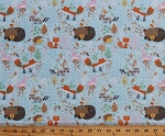 Flannel Woodland Creatures Cute Forest Animals Bears Foxes Raccoons Hedgehogs Rabbits Bunnies on Pale Blue Cotton Flannel Fabric Print by the Yard (F1589-11)