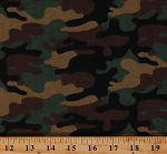 Flannel Camouflage Army Camo Brown Green Black Cotton Flannel Fabric Print by the Yard (64435)