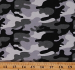 Flannel Camouflage Snow Camo Black White Gray Cotton Flannel Fabric Print by the Yard (64433)