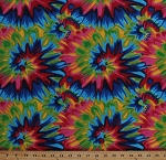 Flannel Tie Tye Dye Abstract Rainbow Flowers Sunburst Swirls Comfy Prints Cotton Flannel By the Yard (0038-78)
