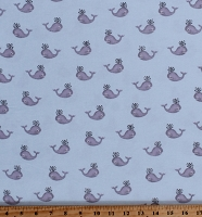 Flannel Whales Cute Ocean Animals on Blue Kids Children's Cotton Flannel Fabric Print by the Yard (0849-11)