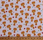 Flannel Giraffes and Scattered Hearts on White Cute Jungle Safari Animals Puppy & Pals 2-Ply Kids Cotton Flannel Fabric Print by the Yard (F1593-4)