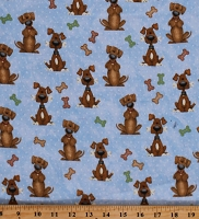 Flannel Dogs Bones Puppies Puppy Dogs Animals Pets on Blue Kids Children's Cotton Flannel Fabric Print by the Yard (N-0910-11)