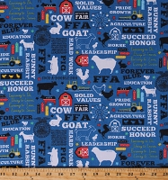 Flannel FFA® Future Farmers of America Forever Blue® Quotes Motto Agricultural Education Farming Farm Animals Barns Tractors Blue Cotton Flannel Fabric Print by the Yard (F8225-Blue)