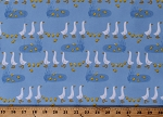 Flannel Goose Pond Geese Park Ducks Chicks Cute Animals Cattails Blue Cotton Flannel Fabric Print by the Yard (AZFV-18366-269PARK)