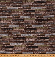 Flannel Lakeside Lodge Words Phrases Cabin Wilderness The Great Outdoors Northwoods Fishing Brown Cotton Flannel Fabric Print by the Yard (F23556-36BROWNMULTI)