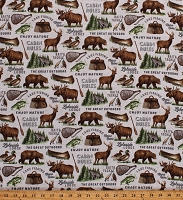 Flannel Lakeside Lodge Animals Bears Moose Deer Ducks Fishing Cabin Northwoods Pale Gray Cotton Flannel Fabric Print by the Yard (F23555-92PALEGRAYMULT)